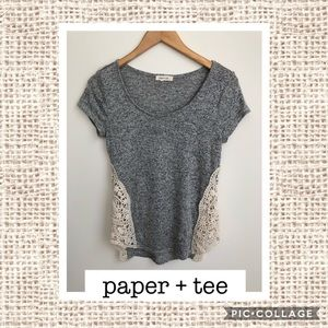 Paper+Tee Gray Top with Crochet Accents💜
